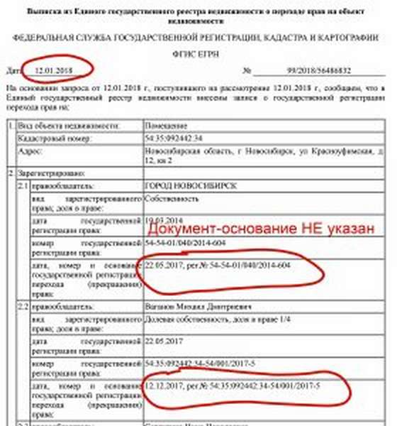 Документы-основания (правоустанавливающие документы) в выписке из ЕГРН