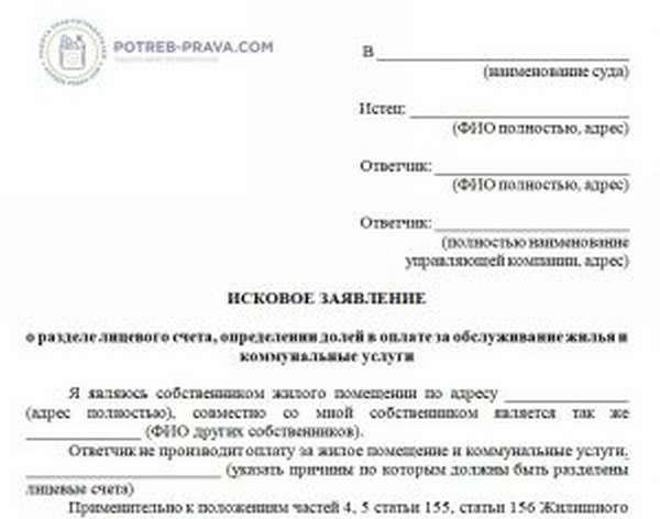 решение суда о разделе лицевых счетов